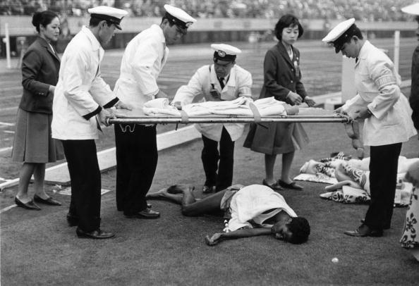 Exhausted marathon runner, 1964