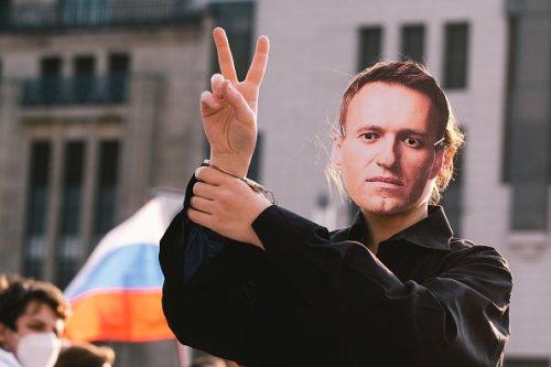 Un dimostrante con la maschera di Navalny