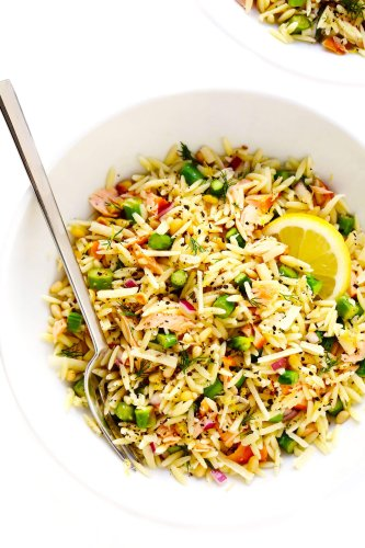 Salmon Asparagus Orzo Salad Recipe   Gimme Some Oven