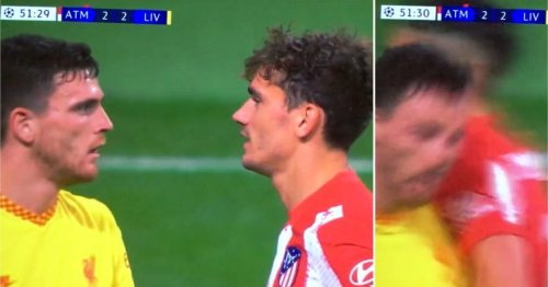 Andy Robertson got barged back to Liverpool after staring out Antoine Griezmann