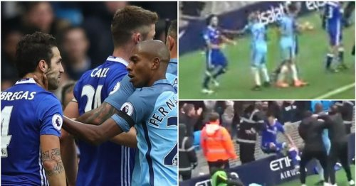 Remembering Fabregas and Fernandinho's crazy fight during brawl in Chelsea vs Man City