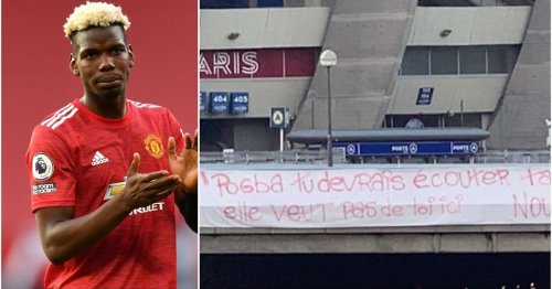 PSG fans put up anti-Pogba banner outside Parc des Princes after transfer speculation