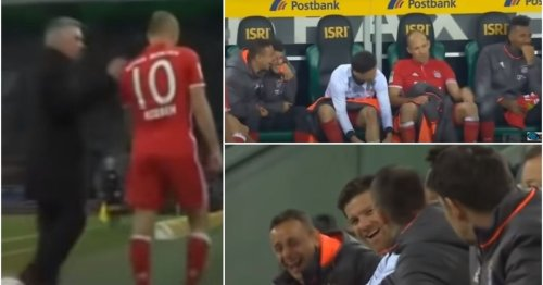 Bayern players laughing at Arjen Robben after he raged about being subbed will never get old
