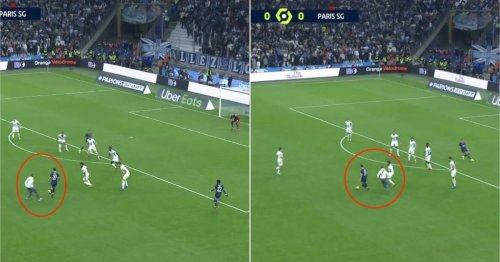 Lionel Messi was chased by a Marseille fan when on the counterattack for PSG