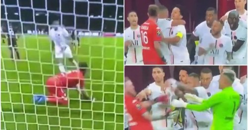 Metz goalkeeper tries to confront Mbappe after PSG's late winner - Neymar sends him flying