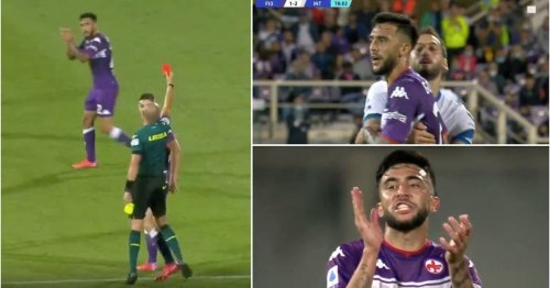 Fiorentina's Nicolas Gonzalez picked up one of the stupidest red cards you'll ever see v Inter