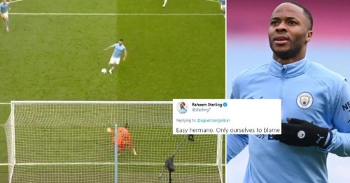 Sergio Aguero apologises for failed Panenka penalty in Chelsea loss - Sterling sends class reply