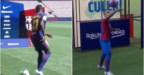 Memphis Depay showed Ousmane Dembele how it was done with skills in Barcelona presentation