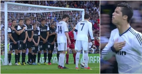Cristiano Ronaldo defined 'badass' when he smashed free-kick past eight players in 2013