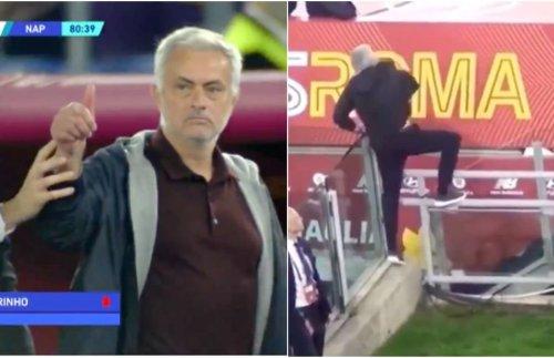 Jose Mourinho filmed coaching AS Roma players vs Napoli despite red card