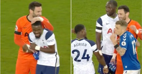 Hugo Lloris and Serge Aurier spotted joking with Lucas Digne after Spurs' draw with Everton