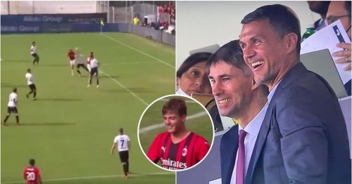 Paolo Maldini's reaction to his son, Daniel, scoring on his first AC Milan start was beautiful