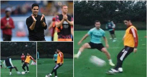 Footage of Mikel Arteta joining in Arsenal training - fans want the club to re-sign him