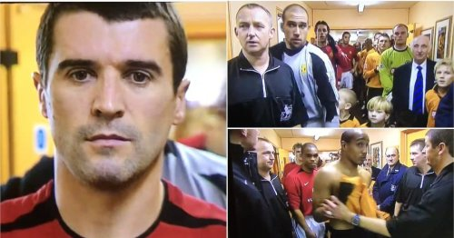 Roy Keane leading Man Utd team out vs Wolves without ref's permission is pure gold