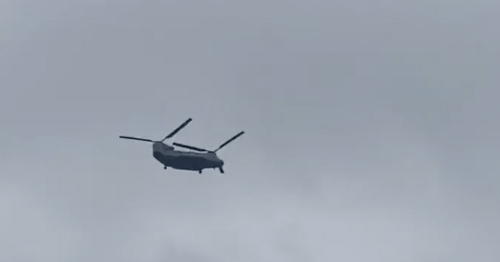 Skies above Glasgow pierced by 'racket' of two Chinook helicopters