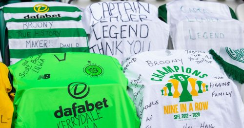 Celtic fans deck Parkhead with Scott Brown tributes ahead of final home game