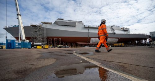 Watch as Royal Navy HMS Glasgow is brought together in Govan shipyard
