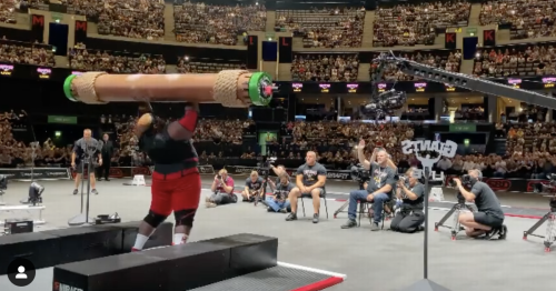 Watch as 32-stone strongman cartwheels after breaking world record at Hydro