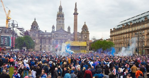 Rangers fan march reaches George Square as supporters begin to party