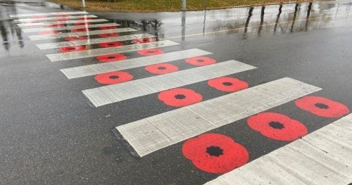 Royal Canadian Legion looks for alternatives after Chestermere's poppy crosswalk deemed 'disrespectful' - Calgary | Globalnews.ca