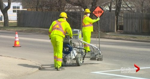 Saskatoon road lane lines painting underway with caution