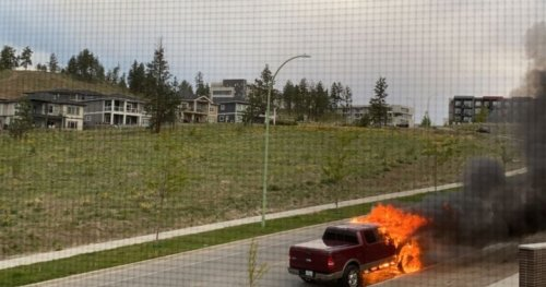 Early morning truck fire near UBC Okanagan