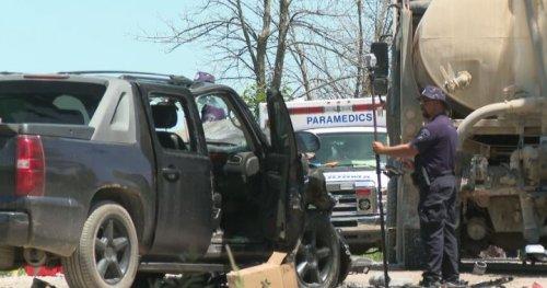 1 man dead after fatal crash between pickup and water truck in Uxbridge