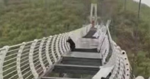 Wind shatters glass bridge in China, leaving tourist stranded over drop