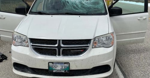Man knocked out, sent to hospital after being hit by ice while driving on highway
