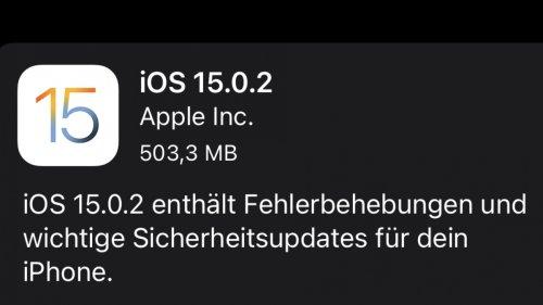 Apple behebt Probleme mit iOS 15.0.2