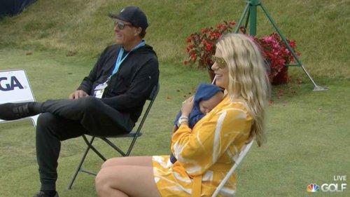 Phil Mickelson celebrates John Rahm's U.S. Open win with Kelley Rahm