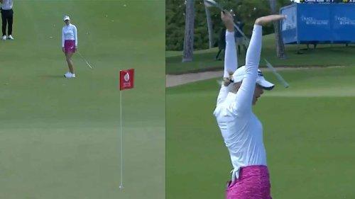 'Kobe!' Jessica Korda has priceless reaction to dunked chip shot