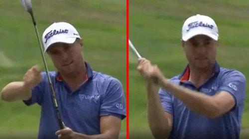 'He's reeling it in!': Justin Thomas breaks out fishing pole after U.S. Open chip