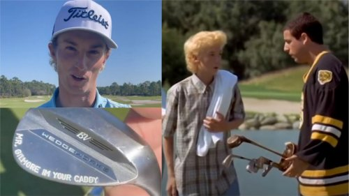 Will Zalatoris embraces Happy Gilmore caddie comparisons with hilarious wedge stamping