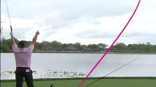 Bryson DeChambeau takes an insane line on a 531-yard par-5 tee shot