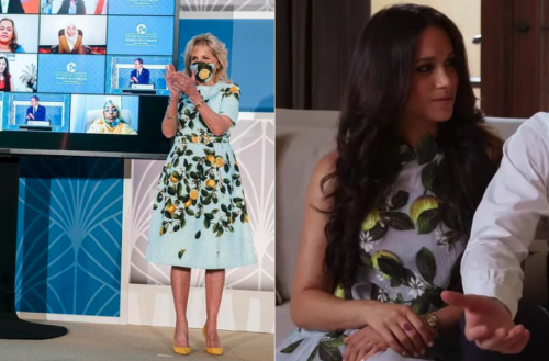Where To Get An Affordable Version Of The Lemon Print Dress Seen On Jill Biden and Meghan Markle