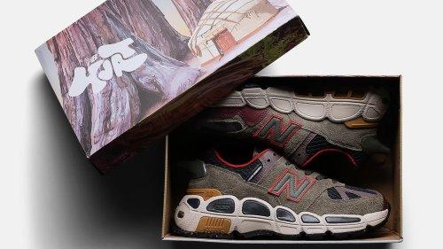 Eine eingebaute Pfeife im Sneaker: New Balance 574 Yurt Shark Skin x Salehe Bembury