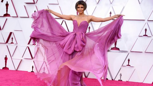 2021 Oscars: Halle Berry Debuts Micro Bangs and Blunt-Cut Bob - Grazia