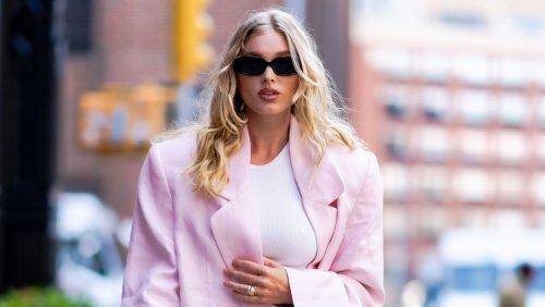 Elsa Hosk Wears A Matching Matin Linen Waistcoat And Pants In New York City