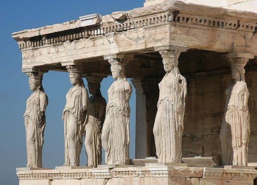 Five Caryatids in Athens Still Waiting for Their Lonely Sister