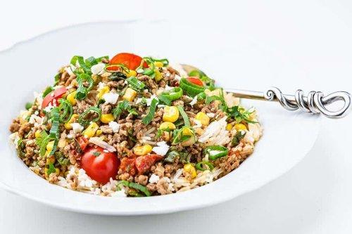 Die Reispfanne mit Faschiertem bedeutet preiswerte & leckere Küche