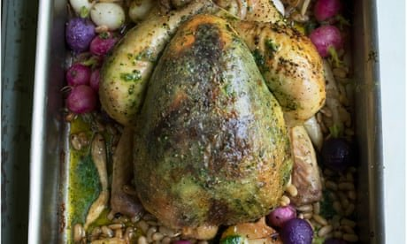 Nigel Slater's recipes for roast chicken with vegetables, and salad