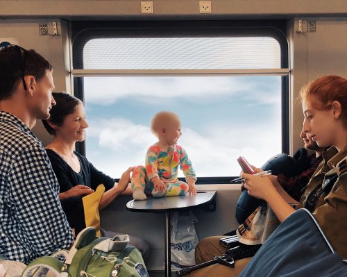 A happy baby on a train: Dina Alfasi's best phone picture