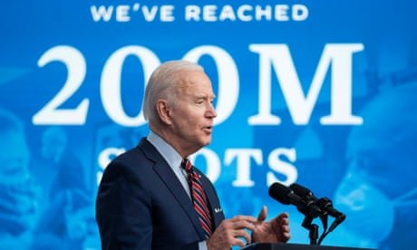 'Today we did it': Joe Biden touts 200m vaccine shots administered – as it happened
