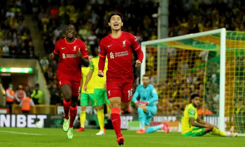 Liverpool's Takumi Minamino at the double as Norwich get familiar feeling