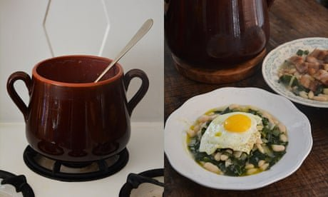 Rachel Roddy's recipe for white beans and chard with bacon or eggs