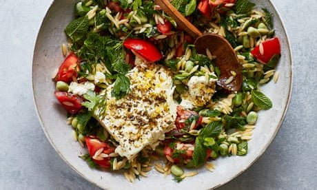 Thomasina Miers' recipe for kritharaki, broad beans and tomato with baked feta