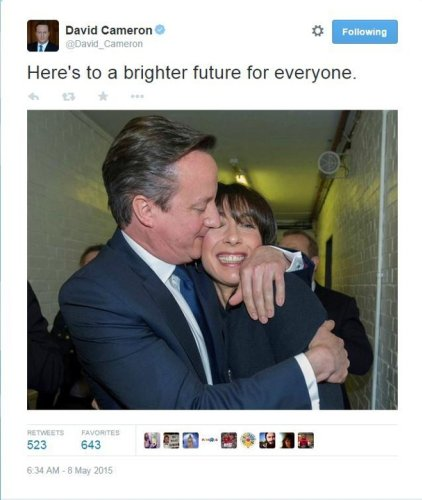 David Cameron's tweeted kiss tells the story of the night