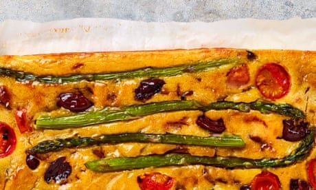 Meera Sodha's vegan recipe for farinata with balsamic onions and asparagus