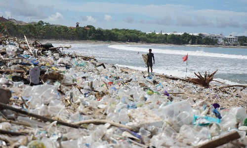 Bali's beaches buried in tide of plastic rubbish during monsoon season